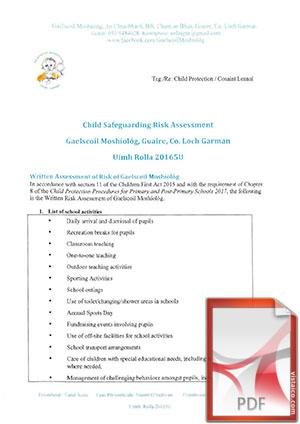 Child Safe Guarding Risk Assessment