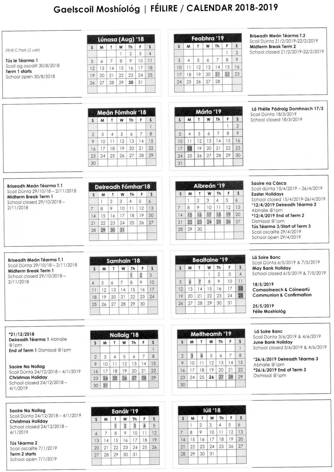 Gaelscoil Calendar 2018-2019