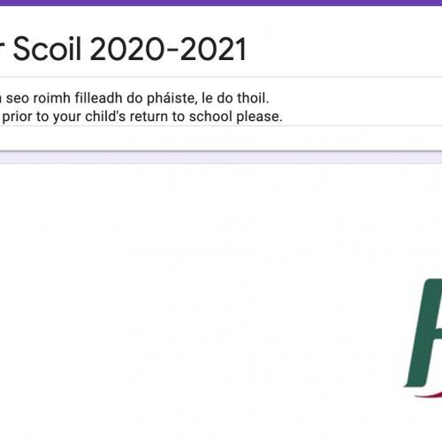 Foirm: Filleadh ar scoil 2020-2021